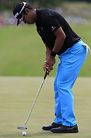 Hideki Matsuyama (JPN) birdie putt on the 8th green during Saturday's Round 3 of the 117th U.S. Open Championship 2017 held at Erin Hills, Erin, Wisconsin, USA. 17th June 2017.<br /> Picture: Eoin Clarke | Golffile<br /> <br /> <br /> All photos usage must carry mandatory copyright credit (&copy; Golffile | Eoin Clarke)