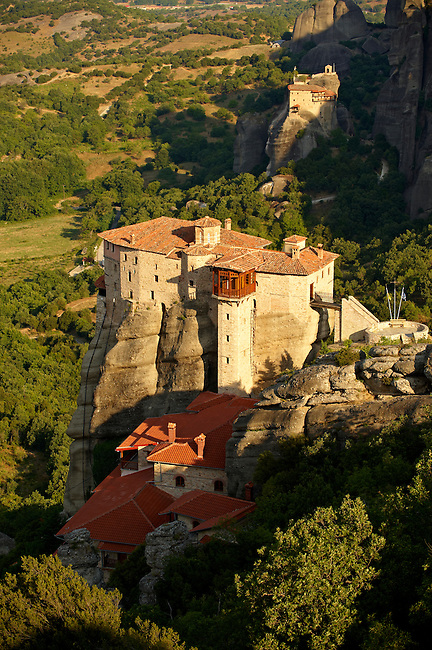 Greek Orthodox Rosanou Monastery (Front) and Monastery of St Nicholas Anapafsas (background), Meteora Mountains, Greece
