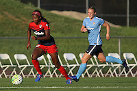 Piscataway, NJ - Saturday July 23, 2016: Cheyna Williams, Leah Galton during a regular season National Women's Soccer League (NWSL) match between Sky Blue FC and the Washington Spirit at Yurcak Field.