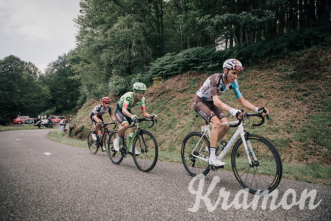 Romain Bardet (FRA/AG2R-La Mondiale), Rigoberto Uran (COL/Cannondale-Drapac) &amp; Louis Meintjes (ZAF/UAE-Emirates) up the Mur de P&eacute;gu&egrave;re (Cat1/1375m/9.3km/7.9%)<br /> <br /> 104th Tour de France 2017<br /> Stage 13 - Saint-Girons &rsaquo; Foix (100km)