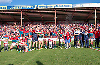 Picture by Allan McKenzie/SWpix.com - 09/09/2017 - Rugby League - Betfred Super League - Hull KR v Widnes Vikings - KC Lightstream Stadium, Hull, England - Hull KR celebrate victory after they regain their place in Super League.