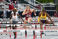 NWA Democrat-Gazette/CHARLIE KAIJO Peyton Chadwick runs the women's 100 meter hurdle during the SEC track and field championships, Friday, May 10, 2019 at John McDonnell Field in Fayetteville.