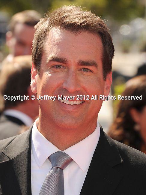 LOS ANGELES, CA - SEPTEMBER 15: Rob Riggle. arrives at the 2012 Primetime Creative Arts Emmy Awards at Nokia Theatre L.A. Live on September 15, 2012 in Los Angeles, California.