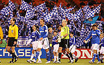 27 October 2007: Kansas City's Jimmy Conrad (12), Kevin Hartman (1), and Michael Harrington (2) march onto the field. The Kansas City Wizards defeated Club Deportivo Chivas USA 1-0 in the first leg of their Major League Soccer Western Conference Semifinal playoff series at Arrowhead Stadium in Kansas City, Missouri.