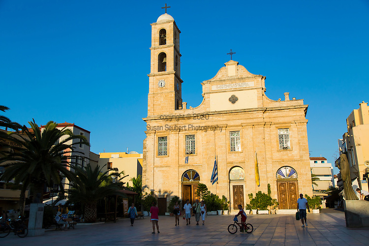 Street scenes in Chania, Crete, Greece.Pictured here is the historic church, The Cathedral of the Presentation of the Virgin Mary, Trimartiri.