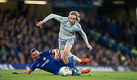 Tom Davies of Everton leaves Danny Drinkwater of Chelsea grounds during the Carabao Cup round of 16 match between Chelsea and Everton at Stamford Bridge, London, England on 25 October 2017. Photo by Andy Rowland.