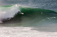 Surfer Ben Skinner cutting back on The Cribbar, Newquay, on October 30th 2011 #06. Cornwall's legendary big wave only occurs under precise conditions of a huge swell, a very long swell period, a particular swell direction, and a southeast wind, meaning that it only appears 2 or 3 times a year.