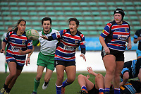 Kristina Sue passes during the 2019 Manawatu premier women's club rugby Prue Christie Cup final match between Feilding Old Boys Oroua and Kia Toa at CET Arena in Palmerston North, New Zealand on Saturday, 13 July 2019. Photo: Dave Lintott / lintottphoto.co.nz
