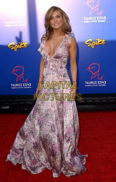CARMEN ELECTRA.The 4th Annual Taurus World Stunt Awards held at The Paramount Picture Studios in Los Angeles California .May 16,2004.full length, full-length, floral print gown, dress, plunging neckline, cleavage.www.capitalpictures.com.sales@capitalpictures.com.©Capital Pictures