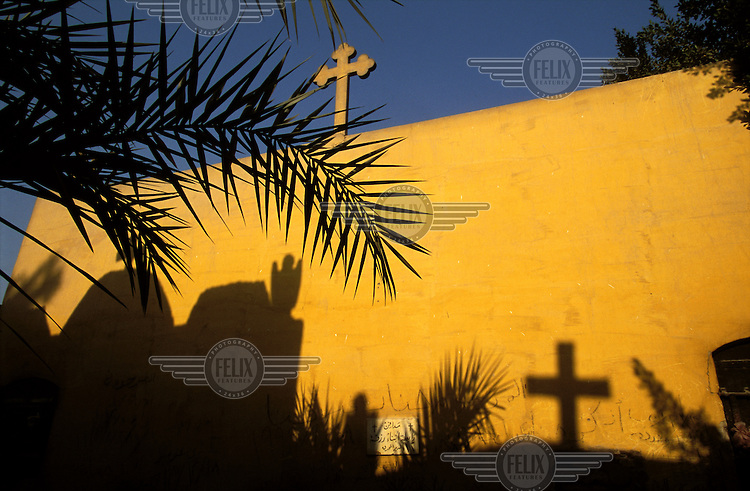 Crosses in a Christian cemetery in Coptic Cairo. .