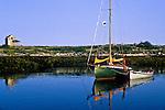 Sailboat moored in Damariscove Island Harbor, Maine