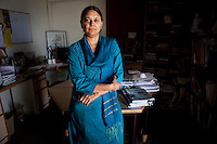 Ms. Geetam Tiwari, a Professor for Transport Planning in the IIT Delhi poses for a portrait in her office on the  IIT Delhi campus in Delhi, India on 30th March 2012. Photo by Suzanne Lee for Daimler TECHNICITY Magazine