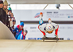 9 January 2016: Anton Batuev, competing for Russia, pushes off for his first run start of the BMW IBSF World Cup Skeleton race at the Olympic Sports Track in Lake Placid, New York, USA. Batuev ended the day with a combined 2-run time of 1:50.89 and an 11th place overall finish. Mandatory Credit: Ed Wolfstein Photo *** RAW (NEF) Image File Available ***