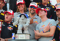 May 30, 2008; Dover, DE, USA; Nascar Craftsman Truck Series driver Scott Speed (right) celebrates after winning the AAA Insurance 200 at Dover International Speedway. Mandatory Credit: Mark J. Rebilas-US PRESSWIRE.