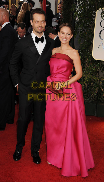 Benjamin Millepied & Natalie Portman (wearing Lanvin).Arrivals at the 69th Annual Golden Globe Awards at The Beverly Hilton Hotel, Beverly Hills, California, USA..January 15th, 2012.globes full length dress gown fuschia clutch bag red pink strapless couple.CAP/GDG.©GDG/Capital Pictures