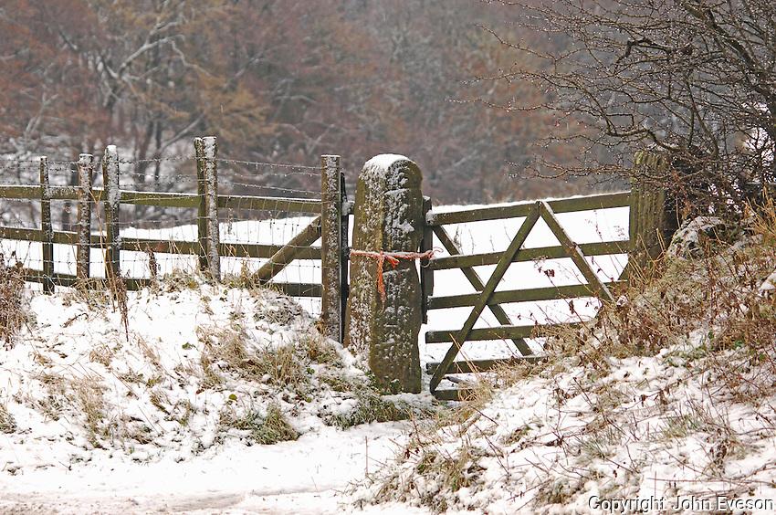 Snowy wooden gate, Slaidburn, Lancashire.