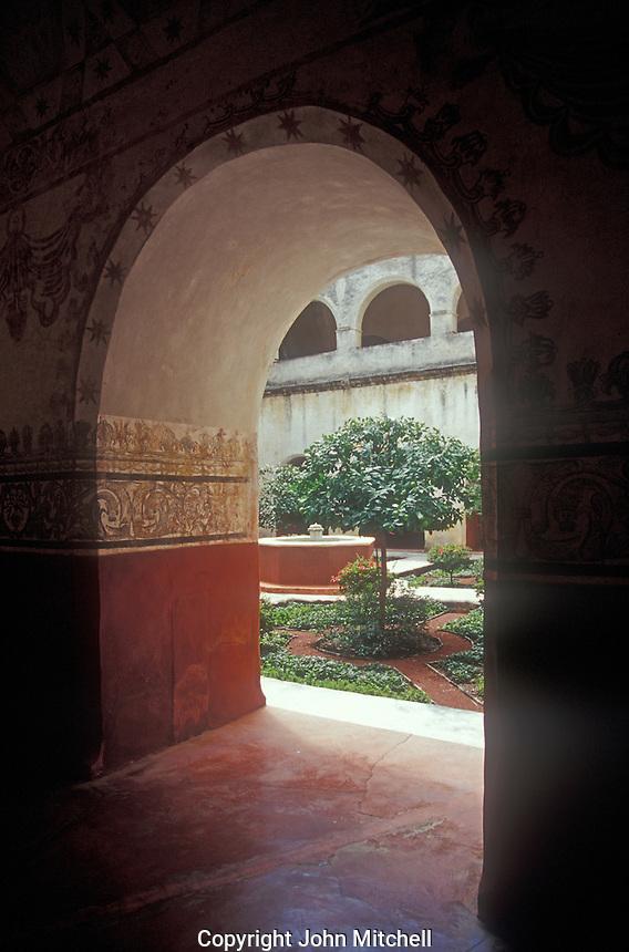 Courtyard of the Ex Convento de la Natavidad in Tepoztlan, Morelos, Mexico. This convent is a UNESCO World Heritage Site.
