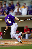 LSU Tigers shortstop Austin Nola #36 swings during the NCAA Super Regional baseball game against Stony Brook on June 9, 2012 at Alex Box Stadium in Baton Rouge, Louisiana. Stony Brook defeated LSU 3-1. (Andrew Woolley/Four Seam Images)