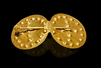 Bronze Age Hattian gold belt buckle from Grave L, possibly a Bronze Age Royal grave (2500 BC to 2250 BC) - Alacahoyuk - Museum of Anatolian Civilisations, Ankara, Turkey. Against a black background