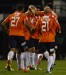 Picture by David Horn/eXtreme Aperture Photography +44 7545 970036<br /> 26/11/2013<br /> Luton Town Players celebrate Steve McNulty's wonder strike to make it 1-0 during the Skrill Premier match at Kenilworth Road, Luton.