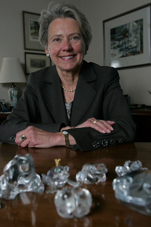 Judge Pamela A. Rymer, 9th Circuit Court of Appeals, among her collection of frogs in her Pasadena, CA office, 27 April 2007; Gerard Burkhart Photo...REPORTER: Amelia Hansen, from the SF office of the Daily Journal.SLUG: Rymerpro.SUBJECT: Pamela A. Rymer, 9th Circuit Court of Appeals judge. .(626) 229-7210.125 S. Grand Ave..Pasadena. .. Judge Pamela A. Rymer, 9th Circuit Court of Appeals, among her collection of frogs in her Pasadena, CA office, 27 April 2007 (Gerard Burkhart Photo 818-207-0273..Any unauthorized use will incur three times the top usage fees. .... .. ..