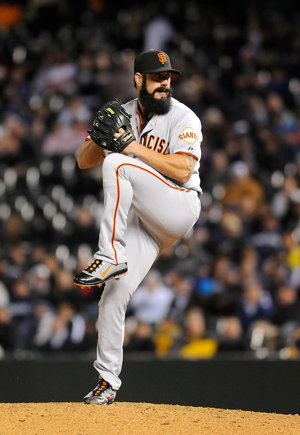 19 APRIL 2011:  San Francisco Giants relief pitcher Brian Wilson (38)  during a regular season game between the San Francisco Giants and the Colorado Rockies at Coors Field in Denver, Colorado. The Giants beat the Rockies 6-3. *****For Editorial Use Only*****