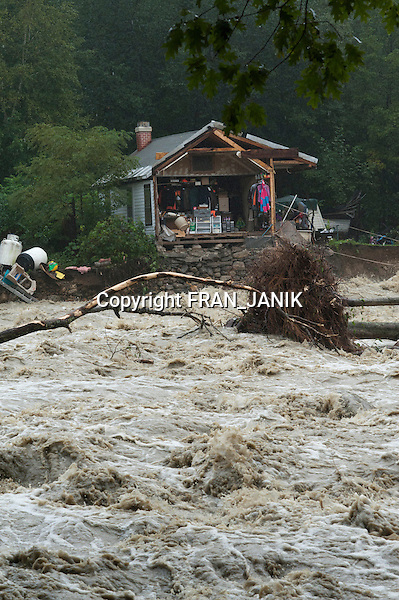 Tropical storm Irene strikes in the village of Jamaica, Vermont