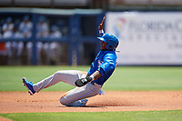Dunedin Blue Jays Chavez Young (2) slides into second base during a Florida State League game against the Charlotte Stone Crabs on April 17, 2019 at Charlotte Sports Park in Port Charlotte, Florida.  Charlotte defeated Dunedin 4-3.  (Mike Janes/Four Seam Images)