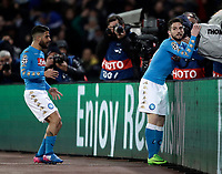 Napoli&rsquo;s Dries Mertens, right, celebrates with teammate Lorenzo Insigne after scoring during the round of 16 second leg soccer match Champions League between Napoli and Real Madrid at the San Paolo stadium, 7 March 2017. Real Madrid won 3-1 to reach the quarter-finals.<br /> UPDATE IMAGES PRESS/Isabella Bonotto