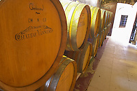 Barrels of wine aging in the cellar Chateau Vannieres (Vannières) La Cadiere (Cadière) d'Azur Bandol Var Cote d'Azur France