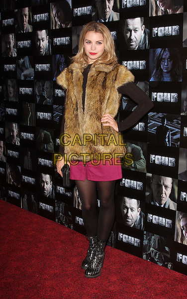 Kylie Babbington.UK premiere of 'Four' at The Empire Cinema - Arrivals, London, England..October 10th, 2011.full length black tights white brown fur jacket pink .CAP/ROS.©Steve Ross/Capital Pictures