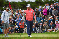 Gary Woodland  (USA) after sinking his putt on 3 during round 4 of the 2019 US Open, Pebble Beach Golf Links, Monterrey, California, USA. 6/16/2019.<br /> Picture: Golffile | Ken Murray<br /> <br /> All photo usage must carry mandatory copyright credit (© Golffile | Ken Murray)