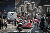 Later winner Nacer Bouhanni (Fra/Cofidis) waited by teammates after a mechanical issue.  <br /> <br /> <br /> GP Marcel Kint 2018 <br /> Kortrijk > Zwevegem 174.8km (BELGIUM)