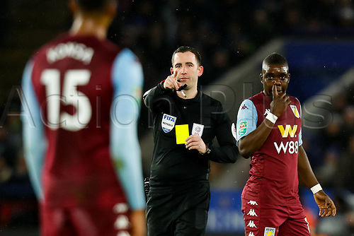 8th January 2020; King Power Stadium, Leicester, Midlands, England; English Football League Cup Football, Carabao Cup, Leicester City versus Aston Villa; Referee Chris Kavanagh books Ezri Konsa of Aston Villa - Strictly Editorial Use Only. No use with unauthorized audio, video, data, fixture lists, club/league logos or 'live' services. Online in-match use limited to 120 images, no video emulation. No use in betting, games or single club/league/player publications