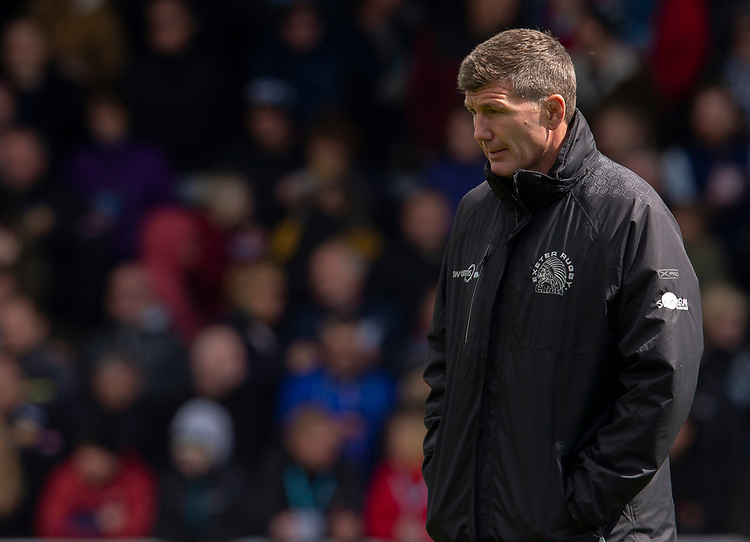 Exeter Chiefs' Head Coach Rob Baxter<br /> <br /> Photographer Bob Bradford/CameraSport<br /> <br /> Gallagher Premiership - Exeter Chiefs v Harlequins - Saturday 27th April 2019 - Sandy Park - Exeter<br /> <br /> World Copyright © 2019 CameraSport. All rights reserved. 43 Linden Ave. Countesthorpe. Leicester. England. LE8 5PG - Tel: +44 (0) 116 277 4147 - admin@camerasport.com - www.camerasport.com