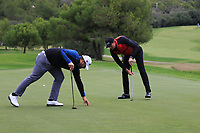 Jack Senior (ENG) and Sebastian Heisele (GER) on the 7th green during Round 4 of the Challenge Tour Grand Final 2019 at Club de Golf Alcanada, Port d'Alcúdia, Mallorca, Spain on Sunday 10th November 2019.<br /> Picture:  Thos Caffrey / Golffile<br /> <br /> All photo usage must carry mandatory copyright credit (© Golffile | Thos Caffrey)