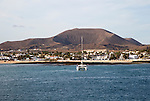 Yacht at moorings in harbour at Corralejo, Fuerteventura, Canary Islands, Spain