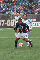 Foxborough, Massachusetts - March 25, 2017:  The New England Revolution (blue/white) beat Minnesota United FC  (white/grey) 5-2 in a Major League Soccer (MLS) match at Gillette Stadium.