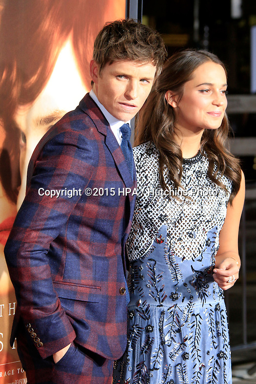 "LOS ANGELES - NOV 21:  Alicia Vikander, Eddie Redmayne at the ""The Danish Girl"" Premiere at the Village Theater on November 21, 2015 in Westwood, CA"