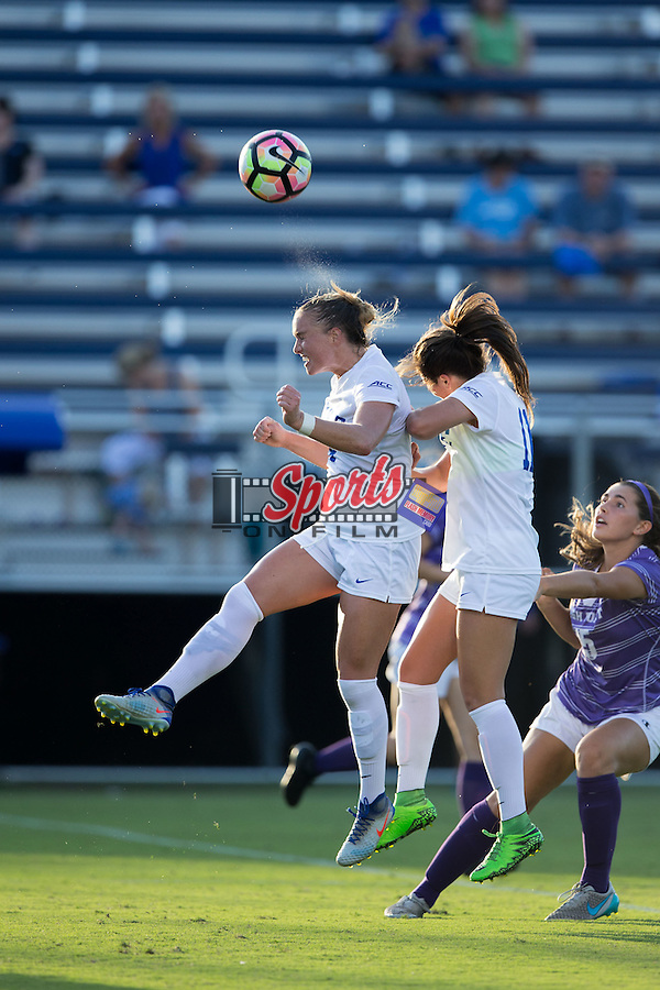 Ashton Miller (4) of the Duke Blue Devils heads the ball during first half action against the High Point Panthers at Koskinen Stadium on September 11, 2016 in Durham, North Carolina.  The Blue Devils defeated the Panthers 4-1.   (Brian Westerholt/Sports On Film)