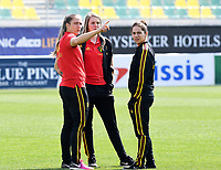 20190227 - LARNACA , CYPRUS :  Belgian Maud Coutereels , Lisa Lichtfus and Lola Wajnblum (r) pictured during a women's soccer game between the Belgian Red Flames and Slovakia , on Wednesday 27 February 2019 at the AEK Arena in Larnaca , Cyprus . This is the first game in group C for Belgium during the Cyprus Womens Cup 2019 , a prestigious women soccer tournament as a preparation on the Uefa Women's Euro 2021 qualification duels. PHOTO SPORTPIX.BE | DAVID CATRY