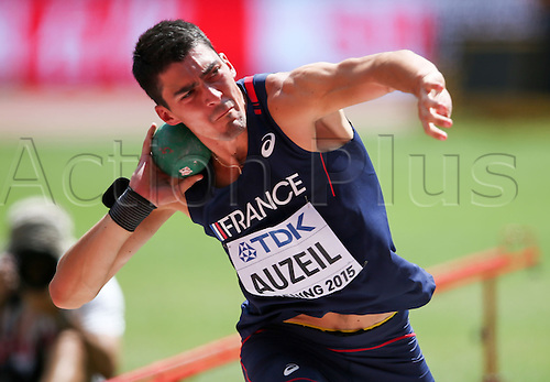 28.08.2015. Birds Nest Stadium, Beijing, China.  Bastian Auzeil of France competes at the Shot Put Section of the Decathlon at the 15th International Association of Athletics Federations (IAAF) Athletics World Championships in Beijing, China, 28 August 2015.