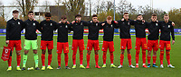 16th November 2019; Leckwith Stadium, Cardiff, Glamorgan, Wales; European Championship Under 19 2020 Qualifiers, Russia under 19s versus Wales under 19s; Wales Under 19 Players stand together for the anthem - Editorial Use