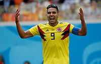 SARANSK - RUSIA, 19-06-2018: Radamel FALCAO jugador de Colombia celebra el gol de Juan QUINTERO a Japón durante partido de la primera fase, Grupo H, por la Copa Mundial de la FIFA Rusia 2018 jugado en el estadio Mordovia Arena en Saransk, Rusia. /  Radamel FALCAO player of Colombia celebrates the goal of Juan QUINTERO scored to Japón during match of the first phase, Group H, for the FIFA World Cup Russia 2018 played at Mordovia Arena stadium in Saransk, Russia. Photo: VizzorImage / Julian Medina / Cont