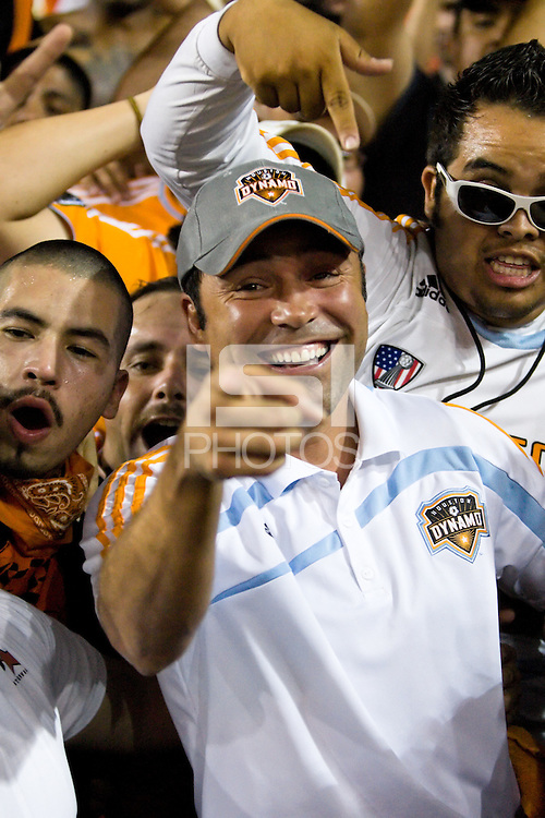 Houston Dynamo part-owner Oscar De La Hoya cheers on the Dynamo with members of El Batallon.  Houston Dynamo tied Seattle Sounders 1-1 on August 23, 2009 at Robertson Stadium in Houston, TX.