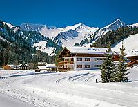 Oesterreich, Kleinwalsertal, Baad vor Allgaeuer Alpen | Austria, Kleinwalsertal, village Baad and Allgaeuer Alps