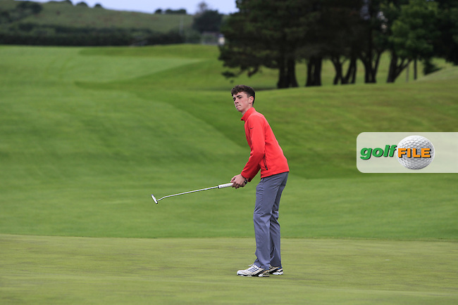 Ross McCabe (Roganstown) on the 4th green during Round 3 of the 2016 Connacht U18 Boys Open, played at Galway Golf Club, Galway, Galway, Ireland. 07/07/2016. <br /> Picture: Thos Caffrey | Golffile<br /> <br /> All photos usage must carry mandatory copyright credit   (&copy; Golffile | Thos Caffrey)