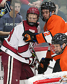 Mike Seward (Harvard - 18), Marlon Sabo (Princeton - 2) - The Harvard University Crimson defeated the visiting Princeton University Tigers 5-0 on Harvard's senior night on Saturday, February 28, 2015, at Bright-Landry Hockey Center in Boston, Massachusetts.