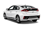 Car pictures of rear three quarter view of a 2019 Hyundai Ioniq Plug-In Hybrid Base 5 Door Hatchback angular rear