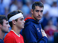 5th January 2020; RAC Arena, Perth, Western Australia; ATP Cup Australia, Perth, Day 3; Russia versus USA; John Isner of the USA  during his teams National Anthem - Editorial Use